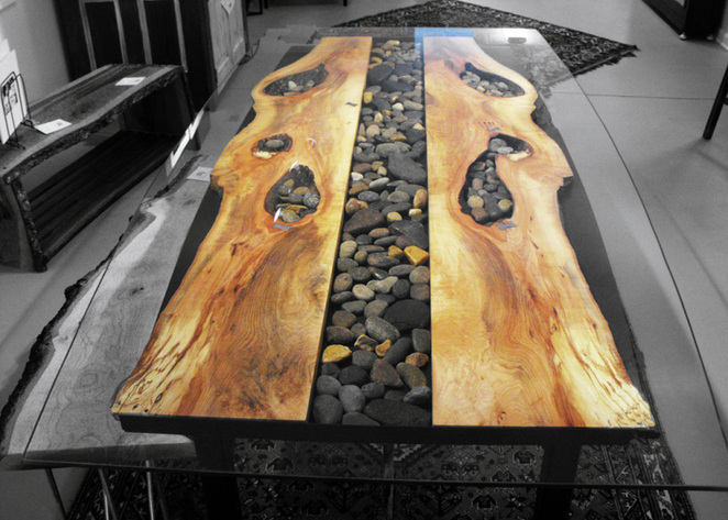 Sticks And Stones Steel Root Furniture Modern Wood And Metal - Wood and stone dining table