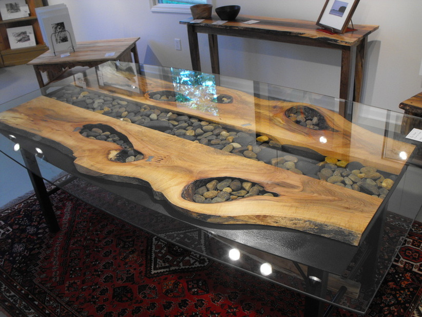 Wood slab furniture at the galleria Wood and steel furniture